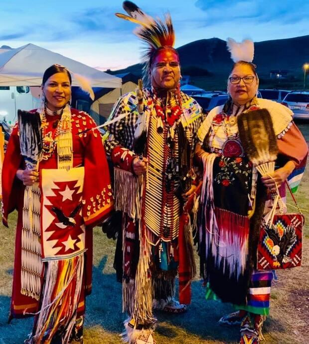 Curtis Standing (centre) says the Wahpeton Dakota Nation will not be celebrating Canada Day this year. Instead, they will be celebrating the survival of their people with a possible mini powow, feast and games.   (Lois Standing/Facebook - image credit)
