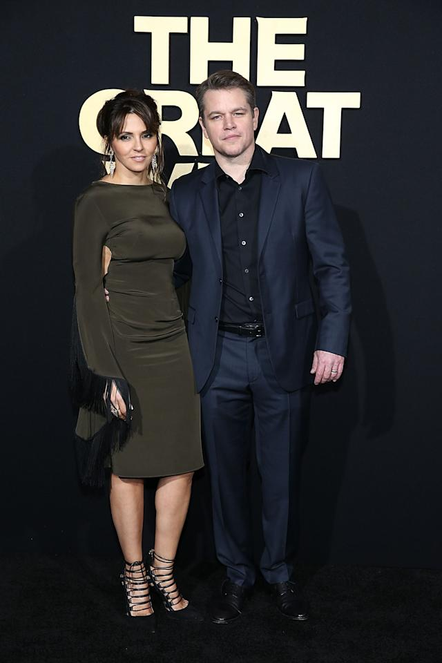 <p>El actor asistió a la premiere de la película 'The Great Wall', en Hollywood junto a su guapa mujer/Getty Images </p>