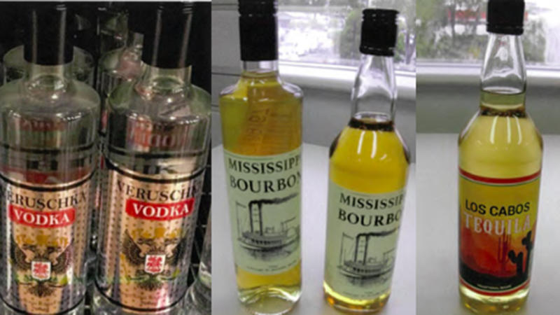 GJ Wholesale's Veruschka Vodka, Mississippi Bourbon and Los Cabos Tequila are three of the recalled brands. Source: Food Standards Australia/NZ