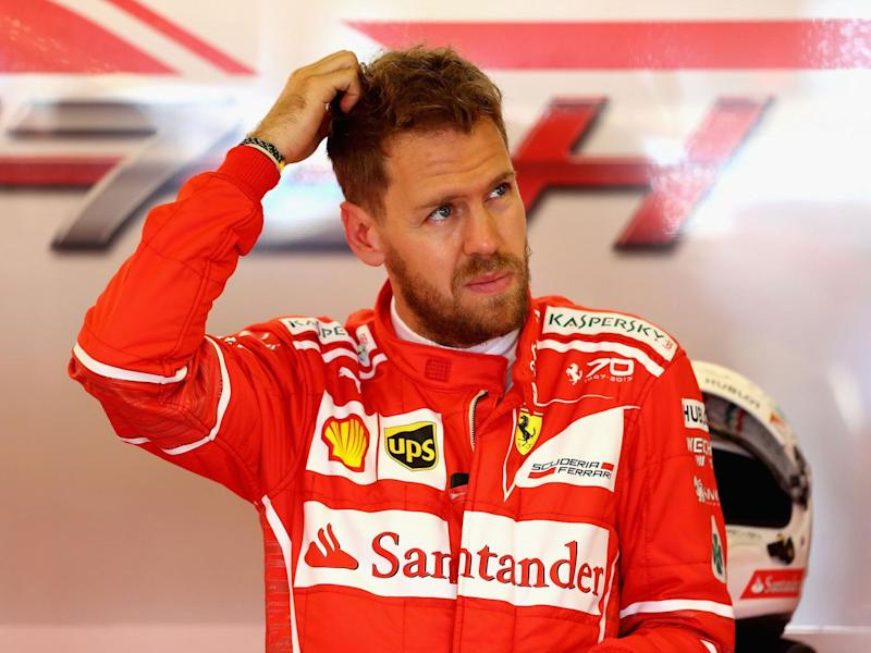 Vettel appeared puzzled by the gap to the lead Mercedes (Getty)