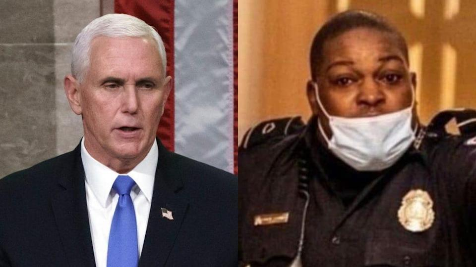 Vice President Mike Pence (left), pictured addressing the House Chamber in the minutes after Capitol Police Officer Eugene Goodman (right) saves him fron a riotous pro-Trump mob, has reportedly been trying to reach him. (Photo by Win McNamee/Getty Images and New York Times)