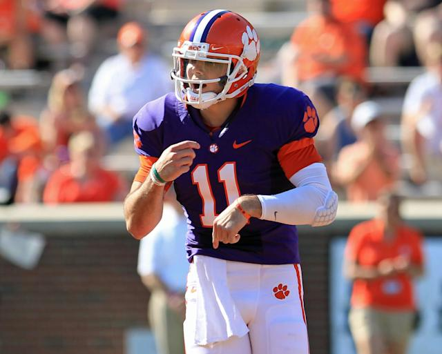Clemson quarterback Chad Kelly signals a play during the first half of the Tigers' NCAA college football spring game at Memorial Stadium in Clemson, S.C. on Saturday, Apr. 12, 2014. Head coach Dabo Swinney announced Monday, April 14, that Kelly was dismissed from the team. (AP Photo/Anderson Independent-Mail, Mark Crammer)