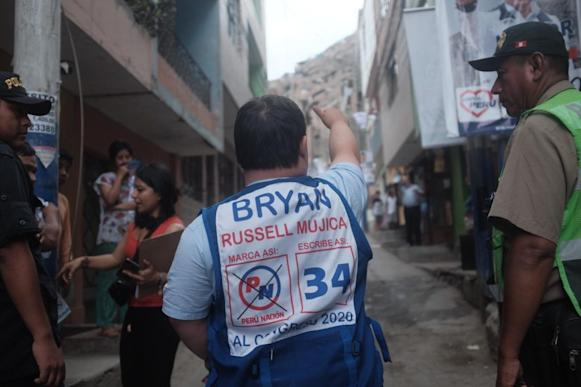 Bryan Russell shown from the back on the campaign trail
