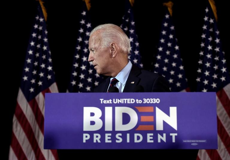 Democratic presidential hopeful Joe Biden makes a statement on Ukraine during a press conference at the Hotel Du Pont in Wilmington, Delaware