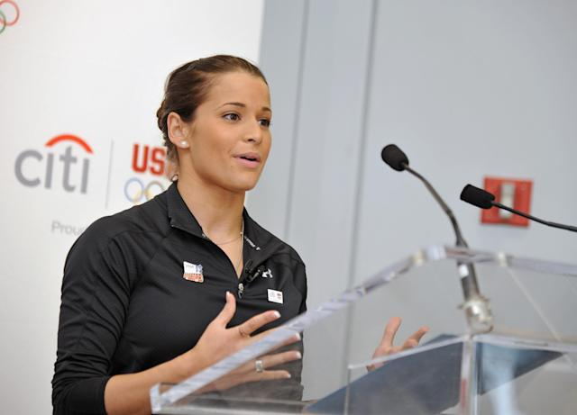 NEW YORK, NY - JULY 27: Olympic silver medalist Alicia Sacramone speaks to Citi employees at the Citi Team USA Flag-raising event at the financial center at Citi's Headquarters on July 27, 2011 in New York City. (Photo by Mike Coppola/Getty Images for Citi)