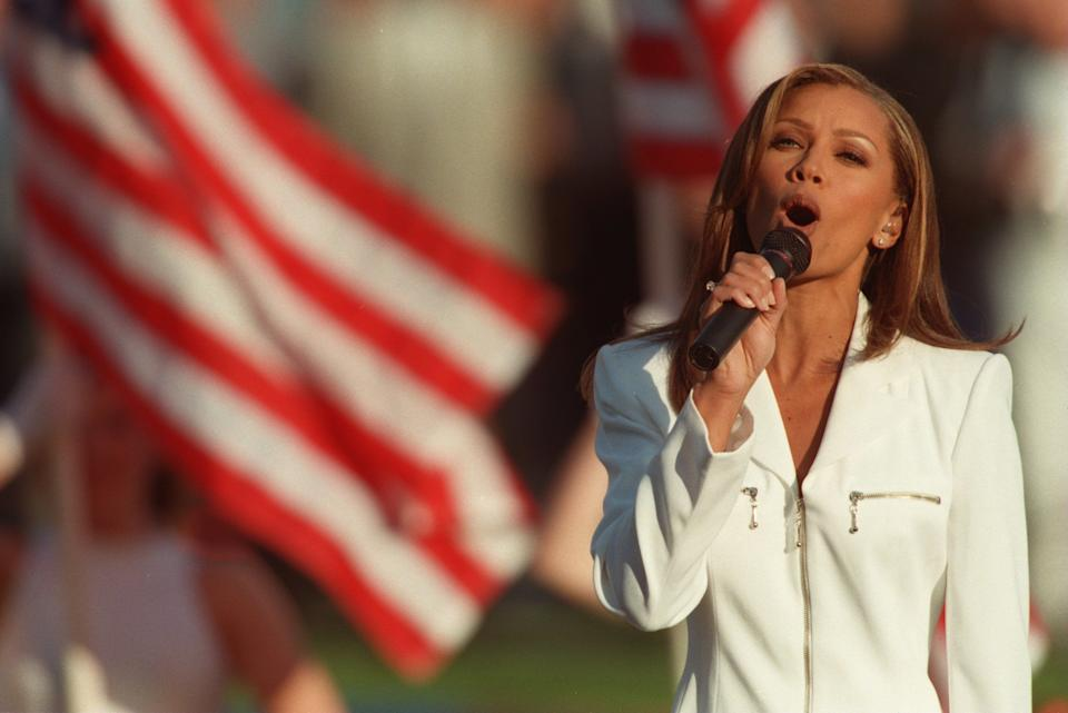 Singer Vanessa Williams sings the national anthem prior to the Dallas Cowboys game versus the Pittsburgh Steelers in Super Bowl XXX at Sun Devil Stadium in Tempe, Arizona on Jan. 28, 1996. The Cowboys defeated the Steelers 27-17.