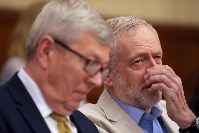 Labour party leader Jeremy Corbyn (right) with Labour MP Alan Johnson before he delivers a speech on the EU referendum campaign at Senate House, London.