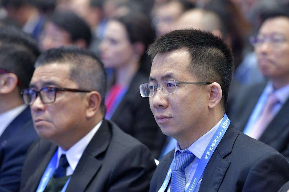 ByteDance CEO Zhang Yiming (right) attends the opening ceremony of the 5th World Internet Conference in Wuzhen in eastern China's Zhejiang province on November 7, 2018. Photo: AP