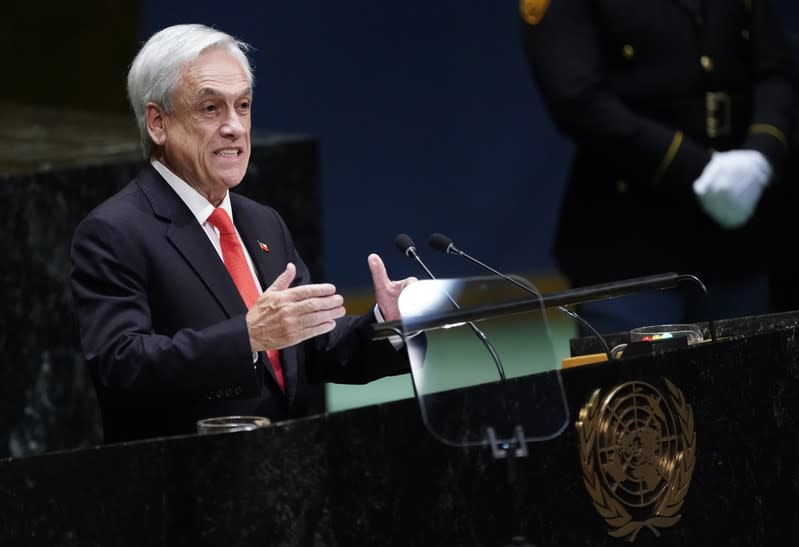 FILE PHOTO: Chile's President Sebastian Pinera addresses the 74th session of the United Nations General Assembly at U.N. headquarters in New York City, New York, U.S.