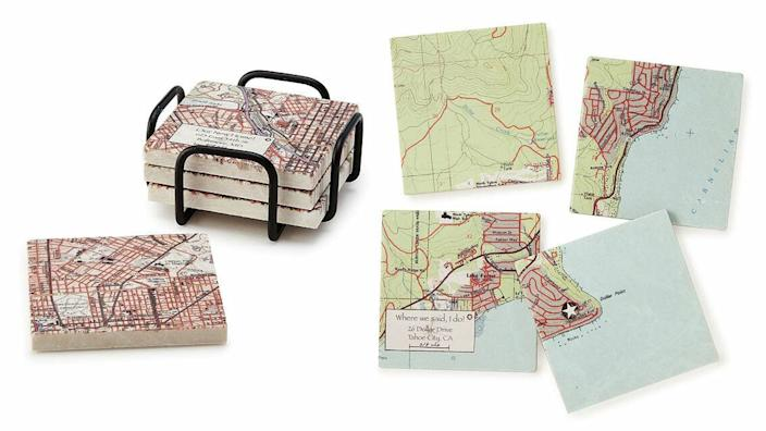 Best personalized gifts 2020: Custom Map Coaster Set