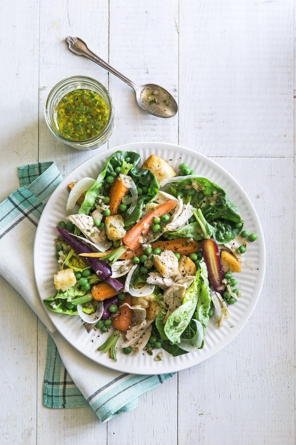 """<p>This crunchy salad gets a protein boost from rotisserie chicken.</p><p><strong><a href=""""https://www.countryliving.com/food-drinks/recipes/a35069/crunch-carrot-pea-and-chicken-salad/"""" rel=""""nofollow noopener"""" target=""""_blank"""" data-ylk=""""slk:Get the recipe"""" class=""""link rapid-noclick-resp"""">Get the recipe</a>.</strong></p>"""