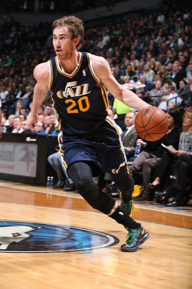 MINNEAPOLIS, MN - April 16: Gordon Hayward #20 of the Utah Jazz goes up for the layup against the Minnesota Timberwolves during the game on April 16, 2014 at Target Center in Minneapolis, Minnesota. (Photo by David Sherman/NBAE via Getty Images)