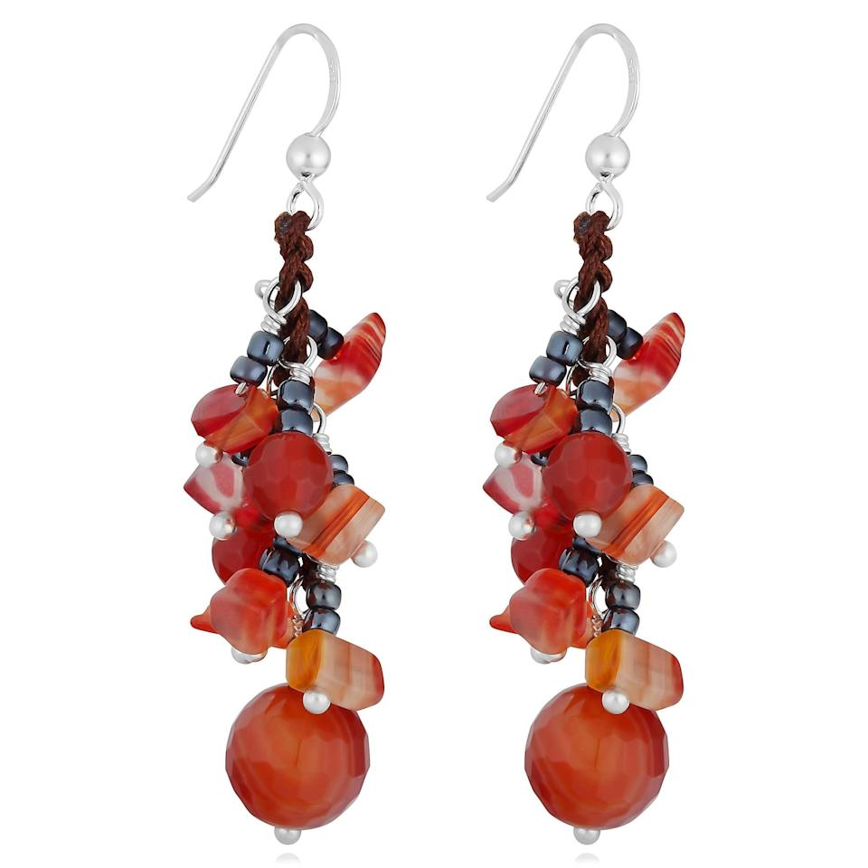 <p><span>Cawi Handmade Red Agate Beads Silver Cluster Earrings</span> ($21)</p>