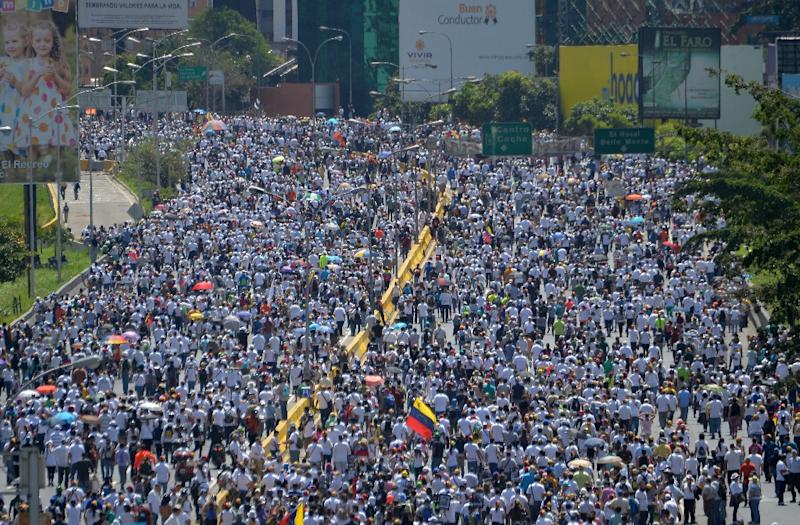 Opposition activists march against President Nicolas Maduro's government in Caracas, on May 29, 2017 (AFP Photo/LUIS ROBAYO                         )