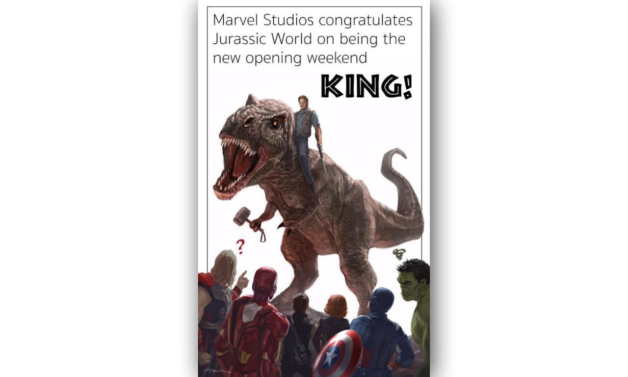 "<p>""Marvel Studios congratulates Jurassic World on being the new opening weekend king!"" </p>"