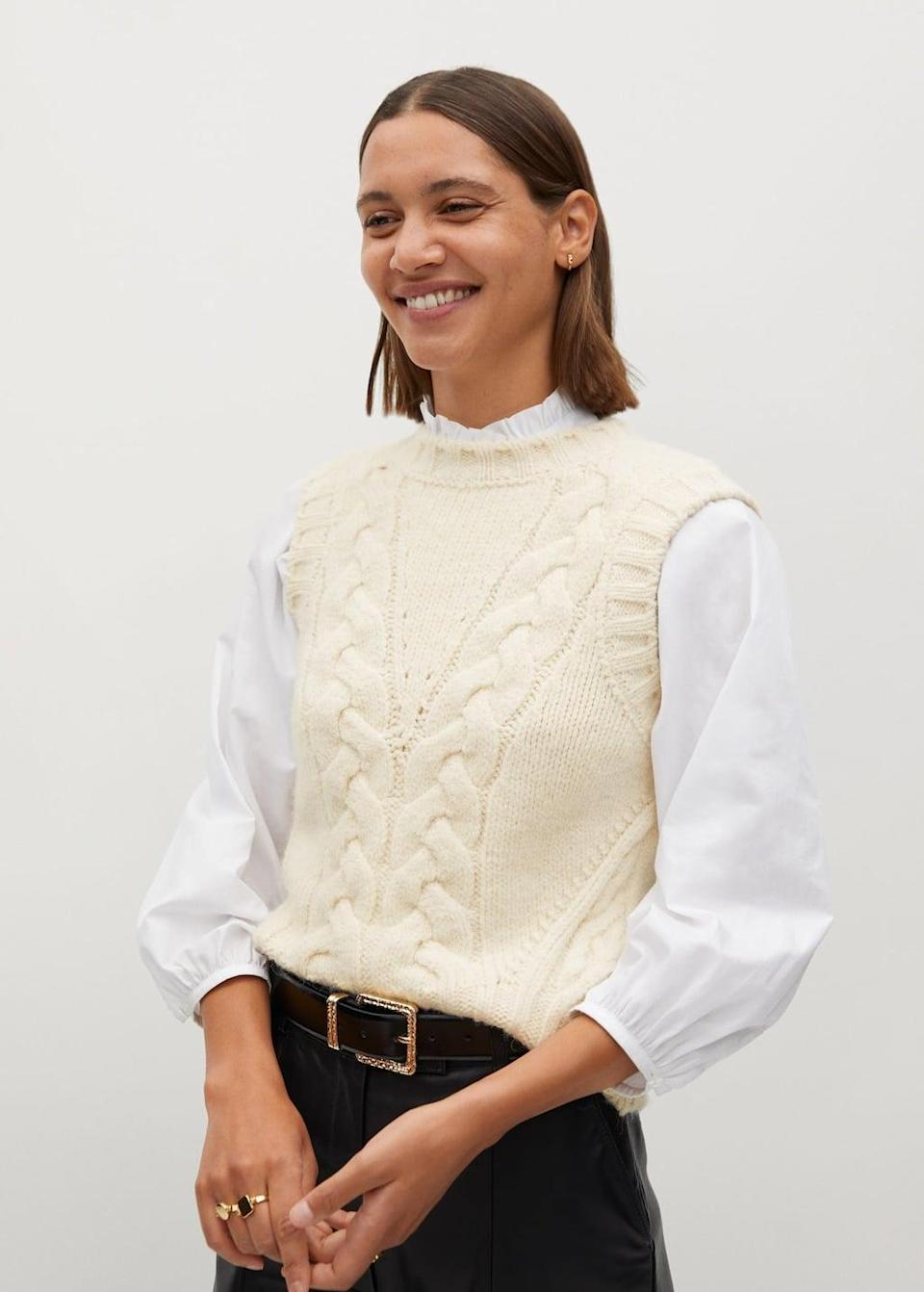 <p>The layering possibilities are endless with this <span>Cable-knit gilet</span> ($50).</p>