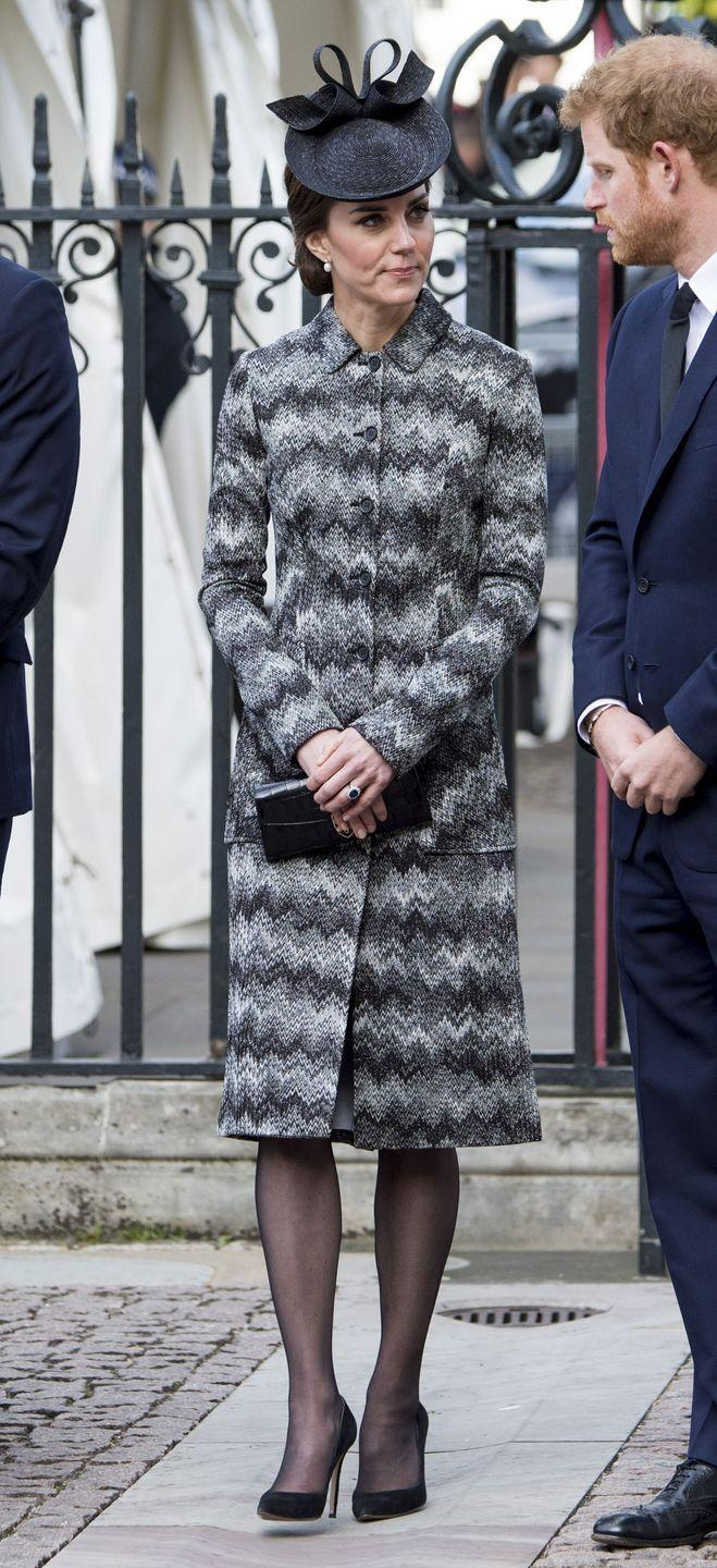 <p>In a black and white patterned Missoni coat dress, black fascinator hat and sheer black tights with black suede pumps, a crocodile leather wallet and pearl drop earrings while attending the Service of Hope at Westminster Abbey that honored those that lost their lives in the recent terror attack in London.</p><p><br></p>