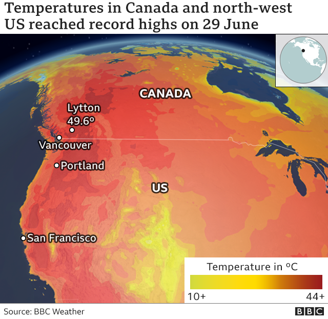Map showing the hottest areas in Canada and the US north-west