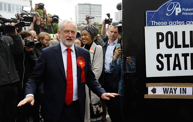 <p>Britain's Labour party leader Jeremy Corbyn gestures after voting in the general election at a polling station in London, Thursday, June 8, 2017. (Photo: Frank Augstein/AP) </p>