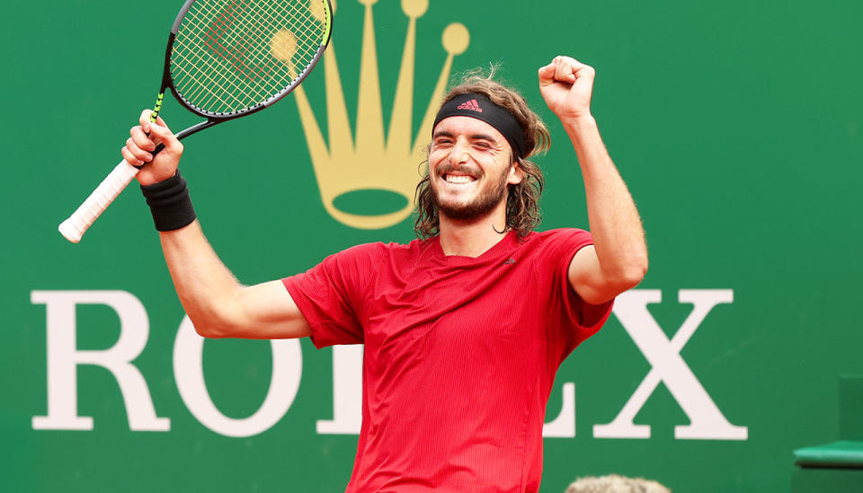 Stefanos Tsitsipas (pictured) celebrates after winning the Monte Carlo Open.