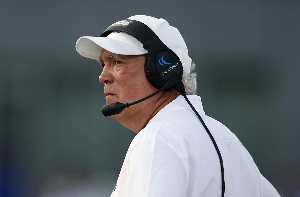 """UMass football coach Mark Whipple used """"rape"""" to describe a non-call on one of his players against Ohio on Saturday. (AP)"""