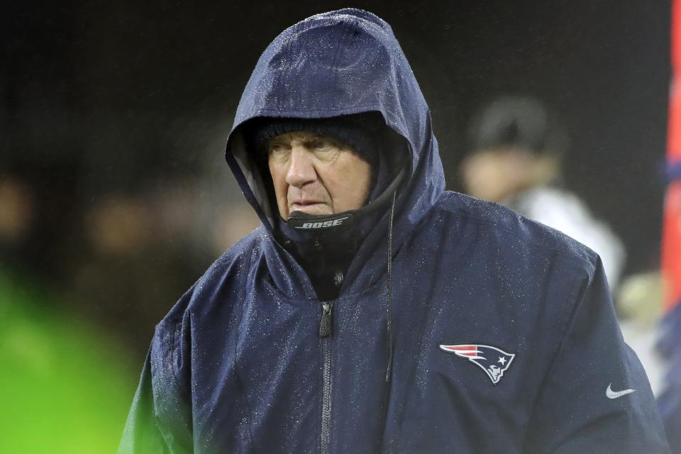 New England Patriots head coach Bill Belichick watches from the sideline in the second half of an NFL football game against the Dallas Cowboys, Sunday, Nov. 24, 2019, in Foxborough, Mass. (AP Photo/Elise Amendola)