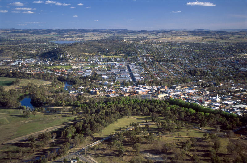 An aerial view of Wagga Wagga in NSW where councillors voted to break ties with its Chinese sister city during the coronavirus.