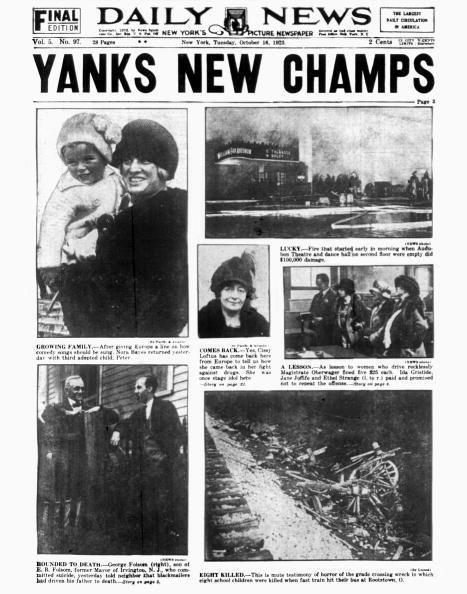 """<p><strong>October 15, 1923</strong>: Culminating the spectacular opening season of The House that Ruth Built, the New York Yankees captured their first-ever World Series with a 6-4 victory over their arch-rivals, the New York Giants. """"With his usual perfect timing, Babe Ruth slugged a home run, capping off a great Series in which he hit .368 with three round-trippers and eight RBI,"""" Wallace says. A first championship under their belts, the Yankees would go on to win 27 more and counting.<br> </p>"""