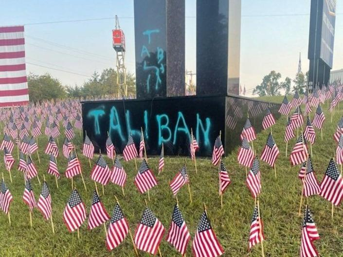 A 9/11 memorial at Upstate Granite Solutions in Greenville, South Carolina was defaced with the spray-painted word 'Taliban'  (Courtesy of Upstate Granite Solutions)