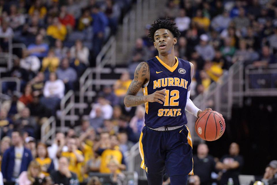 Murray State Racers Guard Ja Morant (12) dribbles the ball during the Ohio Valley Conference (OVC) Championship college basketball game between the Murray State Racers and the Belmont Bruins on March 9, 2019, at the Ford Center in Evansville, Indiana. (Photo by Michael Allio/Icon Sportswire via Getty Images)