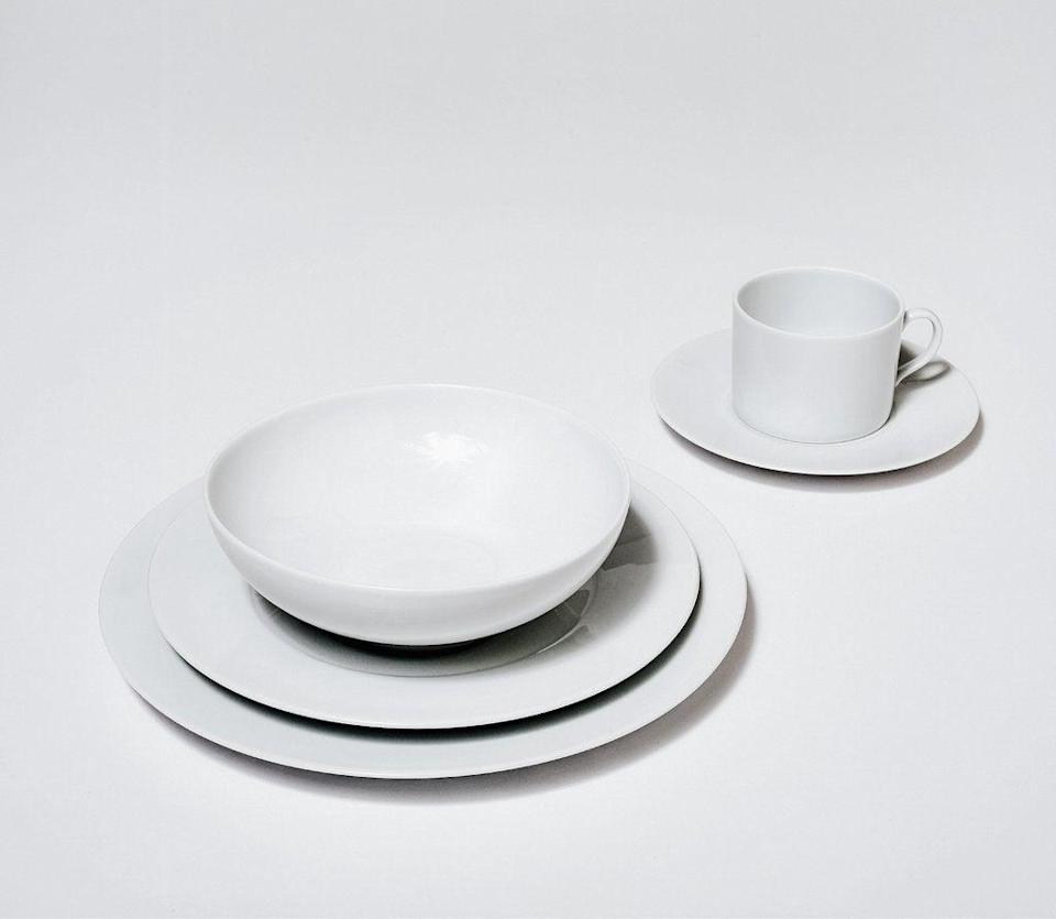 """<h2>5-Piece Table Setting</h2> <br>Made from ultra-high-quality porcelain, this 5-piece set will make you want to swig tea with your pinky out. <br><br><strong>Snowe</strong> 5-Piece Table Setting, $, available at <a href=""""https://go.skimresources.com/?id=30283X879131&url=https%3A%2F%2Fsnowehome.com%2Fproducts%2F5-piece-place-settings%3Fvariant%3D7528793793"""" rel=""""nofollow noopener"""" target=""""_blank"""" data-ylk=""""slk:Snowe"""" class=""""link rapid-noclick-resp"""">Snowe</a>"""