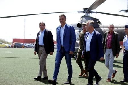 Spain's acting PM Pedro Sanchez visits Gran Canaria in Spain's Canary Islands that has been affected by Spain's worst wildfire in six years, in Valleseco