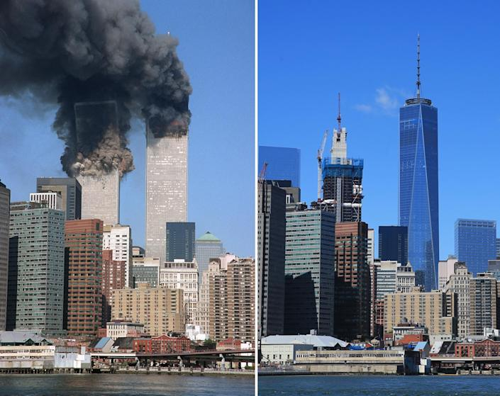 <p>The south tower begins to collapse as smoke billows from both towers of the World Trade Center, in New York on Sept. 11, 2001, left and New York City's ever changing skyline as seen from across the East River in Brooklyn on Aug. 22, 2016. (Photos: Jim Collins/AP – Gordon Donovan/Yahoo News) </p>