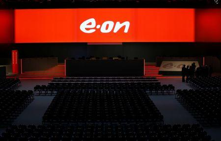 FILE PHOTO:  The empty stage for the board of German utility giant E.ON is seen before the annual shareholders meeting in Essen
