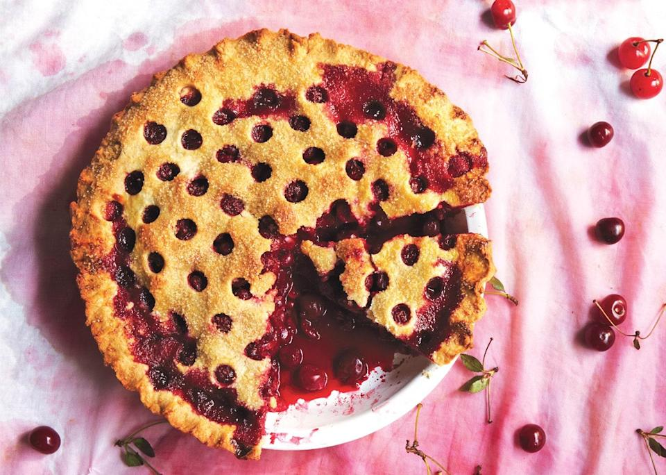 """Leftovers make for a perfect summer breakfast. <a href=""""https://www.bonappetit.com/recipe/sour-cherry-pie?mbid=synd_yahoo_rss"""" rel=""""nofollow noopener"""" target=""""_blank"""" data-ylk=""""slk:See recipe."""" class=""""link rapid-noclick-resp"""">See recipe.</a>"""