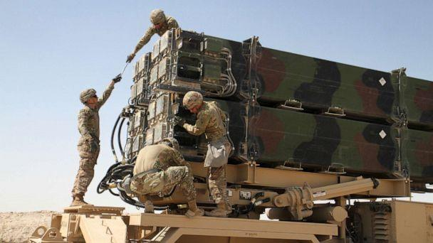 PHOTO: Soldiers from Battery C, 43rd Air Defense Artillery Regiment work together to prepare a Patriot missile launcher for reloading, March 7, 2019. (Sgt. Zachary Mott/U.S. Army)