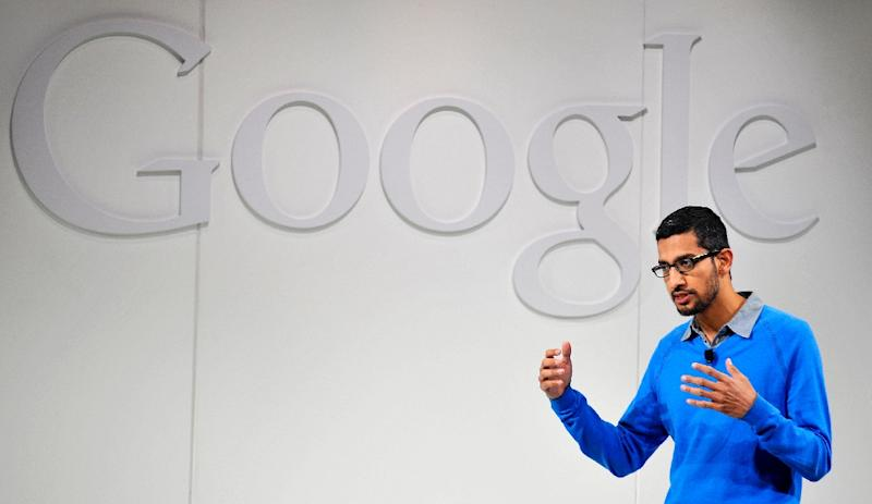 Sundar Pichai, pictured on July 24, 2013, was named chief executive officer as Google unveiled a new corporate structure creating an umbrella company dubbed Alphabet (AFP Photo/Josh Edelson)