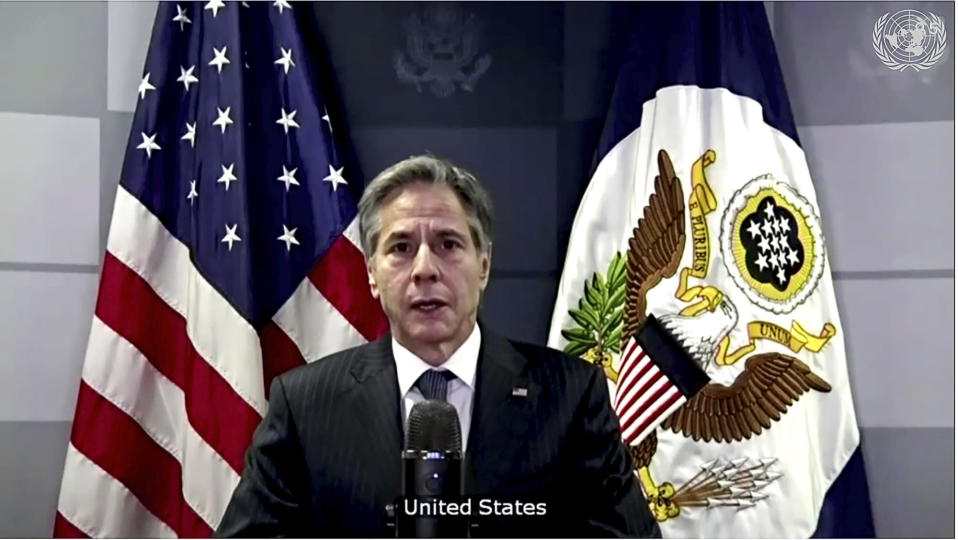 In this image made from UNTV video, U.S. Secretary of State Antony Blinken speaks during a U.N. Security Council high-level meeting on COVID-19 recovery focusing on vaccinations, chaired by British Foreign Secretary Dominc Raab, Wednesday, Feb. 17, 2021, at UN headquarters. (UNTV via AP)