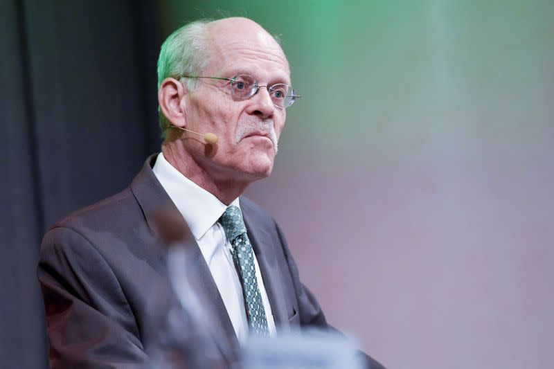 Stefan Ingves holds a news conference presenting decisions on the repo rate and monetary policy in Stockholm