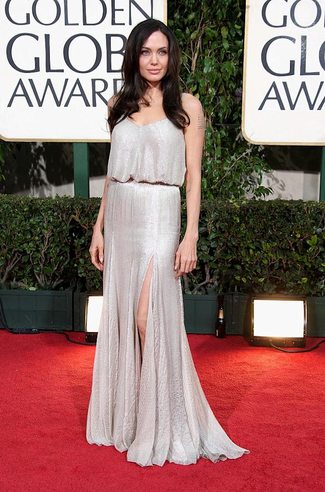 """Angelina Jolie (""""Changeling"""") shimmered in a silver beaded dress by Versace. Frazer Harrison/<a href=""""http://www.gettyimages.com/"""" target=""""new"""">GettyImages.com</a> - January 11, 2009"""