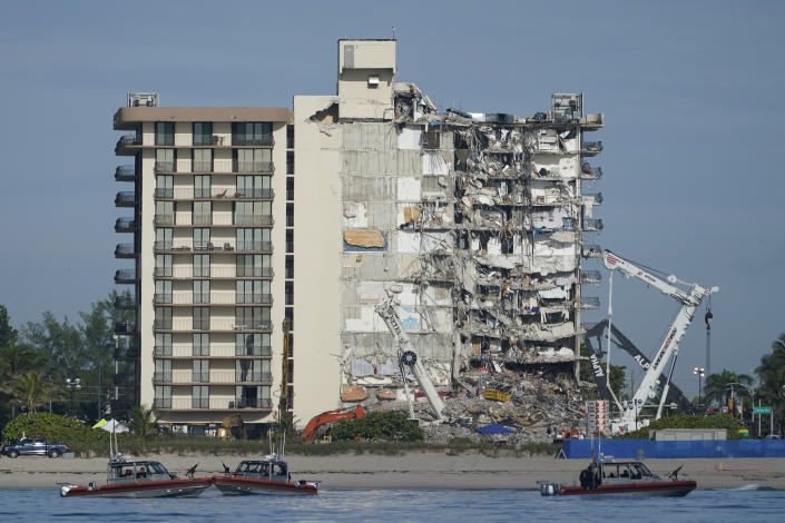 A view of the partially collapsed building in Surfside, Fla., Thursday. (AP Photo/Mark Humphrey)