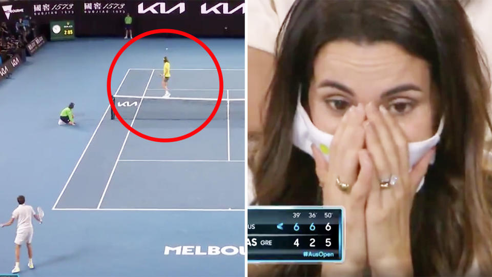 Daniil Medvedev, pictured here hitting a ridiculous passing shot at the Australian Open.