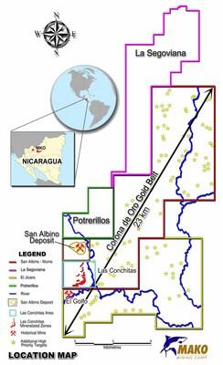 Mako Mining Further Expands Its Mineral Concessions In Nicaragua (CNW Group/Mako Mining Corp.)