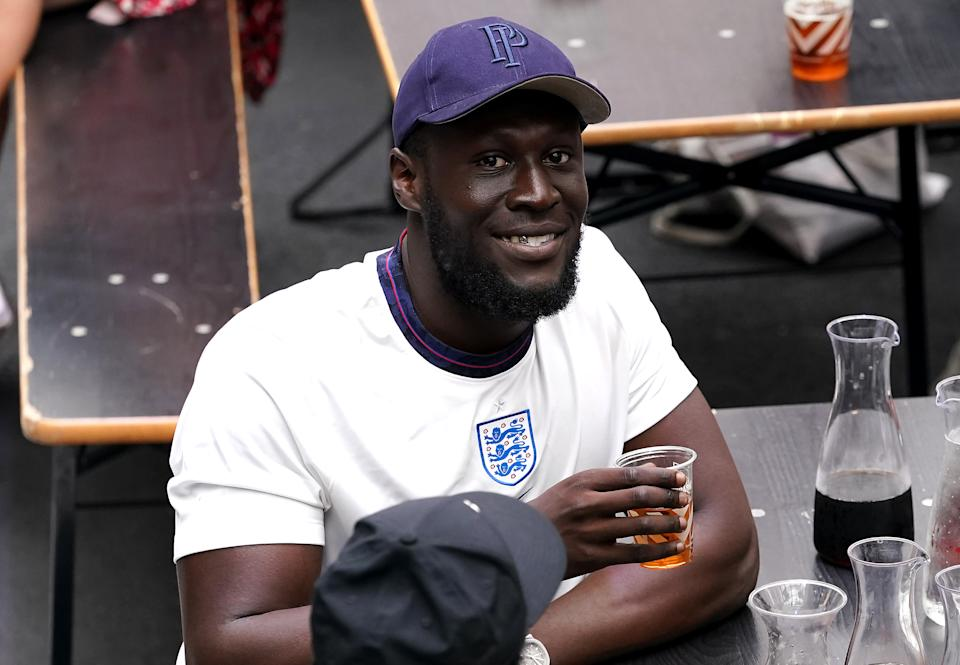 England fan and rapper Stormzy watches the UEFA Euro 2020 round of 16 match between England and Germany at BOXPARK Croydon in London. Picture date: Tuesday June 29, 2021.