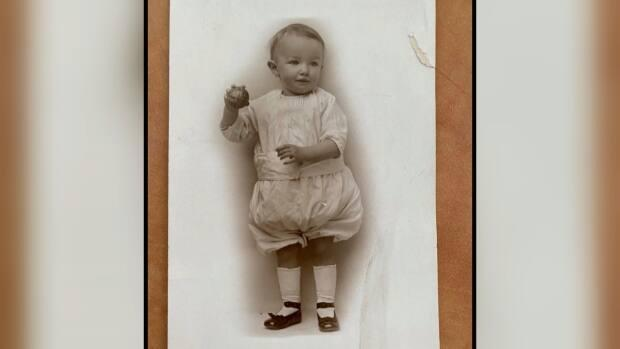 An antique baby photo of Thomas Frances Pashley 'Tip' Harvey who was born in Toronto in 1914. He lived in England until 1955 when he relocated to B.C.'s Okanagan.  (Vernon, Lumby, Cherryville, Falkland Libraries/Facebook - image credit)