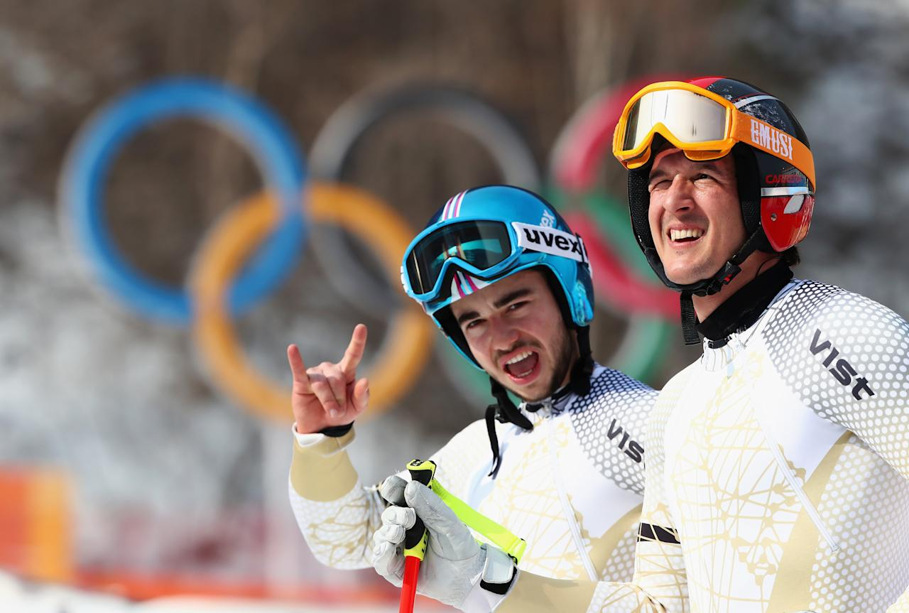 <p>Dalibor Samsal (R) and Marton Kekesi (L) of Hungary talk after making a run during the Men's Downhill 3rd Training on day one of the PyeongChang 2018 Winter Olympic Games at Jeongseon Alpine Centre on February 10, 2018 in Pyeongchang-gun, South Korea. (Photo by Alexander Hassenstein/Getty Images) </p>