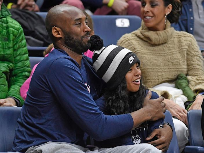 Kobe Bryant and his daughter Gianna at a UConn basketball game in 2019.