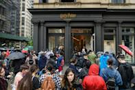 Harry Potter fans queue to get into the New York store on June 3, 2021