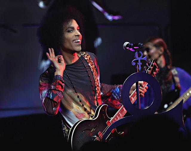 "Prince performs in Toronto on May, 19, 2015, during the ""Hit N Run"" tour. (Photo: Cindy Ord/Getty Images for NPG Records 2015)"