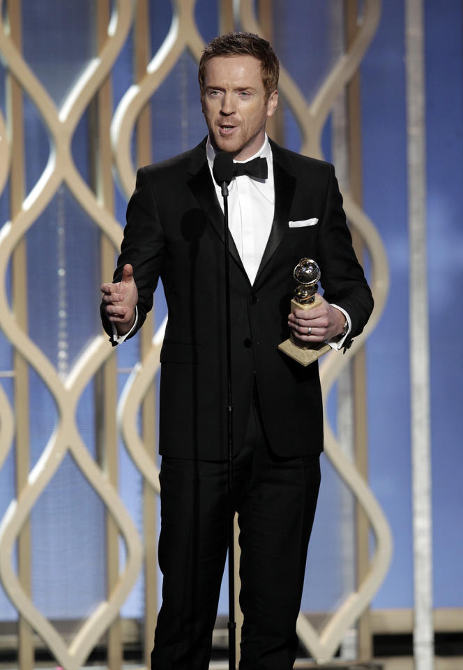 """Winner Damian Lewis, Best actor - TV Series, Drama, """"Homeland"""" on stage during the 70th Annual Golden Globe Awards held at the Beverly Hilton Hotel on January 13, 2013."""